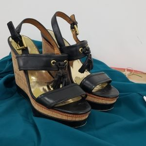 Coach Giulietta Platform Wedges Shoes Cork 8 1/2